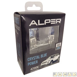 Kit lâmpada do farol - Alper - H3 - Crystal Blue Power - 4200K  55W - luz branca - jogo - 17112