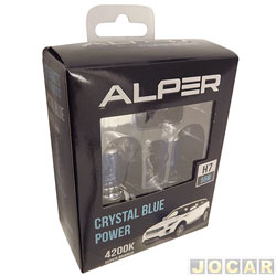 Kit lâmpada do farol - Alper - H7 - Crystal Blue Power - 4200K - luz branca - jogo - 17114