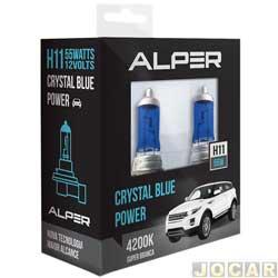 Kit lâmpada do farol - Alper - H11 - Crystal Blue Power - 4200K - luz branca - jogo - 17116