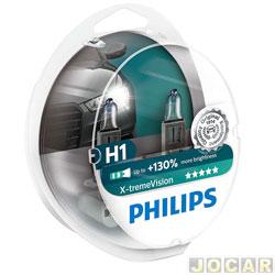 Kit lâmpada do farol - Philips - H1 x2 - X-Treme Vision - 100% mais luz - 12V 55W - jogo - H1-12258XV-CI