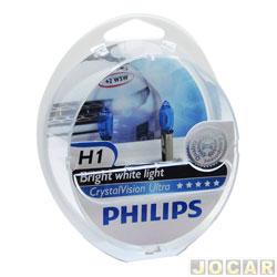 Kit lâmpada do farol - Philips - H1 - Crystal Vision ultra 4300K (luz branca) - x2/w5wx2 - jogo - 12258CVU