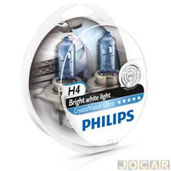 Kit l�mpada do farol - Philips - H4 - Crystal Vision Ultra 4300K (luz branca) - x2+W5x2 - jogo - 12342CVU