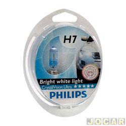 Kit lâmpada do farol - Philips - H7 - Crystal Vision ultra 4300K (luz branca) - x2/w5wx2 - jogo - 12972CVU