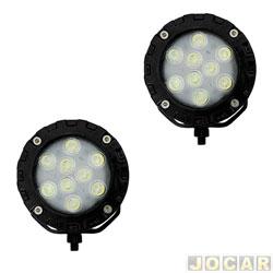 Farol de milha - Autopoli - redondo - UNIVERSAL - lâmpada LED 9 watts -12V branca - par - Al 214
