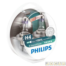 Kit lâmpada do farol - Philips - H4 x2 - X-Treme Vision - 100% mais luz - 12V 55/60W - jogo - H4-12342XV-CI