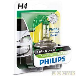 Lâmpada do farol - Philips - H4 - ColorVision Torcida - verde - 60% mais luz - 12V 60/55W - cada (unidade) - H4-12342_GREEN