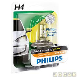 Lâmpada do farol - Philips - H4 - ColorVision Torcida - amarela - 60% mais luz-12V 60/55W - cada (unidade) - H4-12342_YELLOW