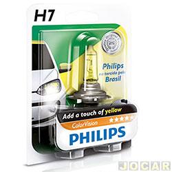 Lâmpada do farol - Philips - H7 - ColorVision Torcida - amarela - 60% mais luz - 12V 55W - cada (unidade) - H7-12972_YELLOW