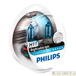 Kit l�mpada do farol - Philips - H11 - Crystal Vision Ultra  - 4300K - H11x2/w5w - jogo - H11-12362CVU