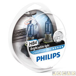 Kit l�mpada do farol - Philips - HB4 x2/w5x2 - Crystal Vision Ultra 4300K - jogo - 9006CVU