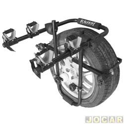 Suporte para bicicleta - Kiussi - Brennero - fixado no estepe externo central- p/ 2 bicicletas - preto - central - cada (unidade) - 03-902