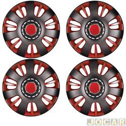 Calota aro 14 - Podium - Universal Velox - vermelho e preto - jogo - P841