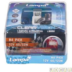 Kit lâmpada do farol - Lampa - H4 12V - Clear vision - 4300K - luz branca - jogo - C-P0004W.