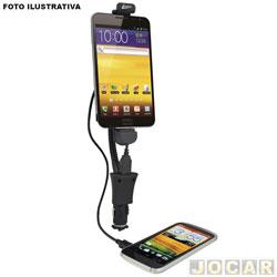 Suporte para celular e GPS - Leadership - universal com carregador para galaxy S2/S3/S4/note/note 2 - cada (unidade) - LEA-1337