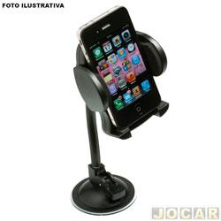 Suporte para celular e GPS - Leadership - universal p/ fixar no vidro ou entrada ar painel -45 a 125mm - cada (unidade) - LEA-1325