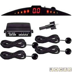 Sensor de estacionamento - Suns Faróis - importado - com display e campainha - 4 sensores - 18,5mm - preto - traseiro - cada (unidade) - SR200