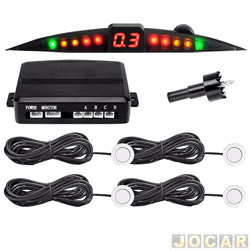 Sensor de estacionamento - Suns Faróis - importado - com display e campainha - 4 sensores - 18,5mm - prata - traseiro - cada (unidade) - SR201