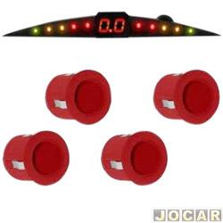 Sensor de estacionamento - Suns Far�is -  importado - com display e campainha - 4 sensores - 18,5mm - vermelho - traseiro - cada (unidade) - SR203