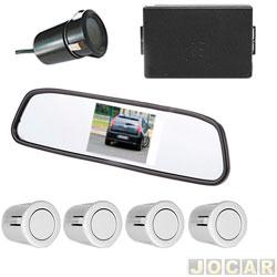 Sensor de estacionamento - Suns Faróis - c/ câmera imagem no retrovisor-alarme e 4 sensores de 18,5mm - prata - cada (unidade) - SR601