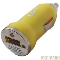 Carregador de bateria - Leadership - veicular para celulares e smartphones - 12V - 1 entrada USB - cada (unidade) - LEA-3790-AMARELO