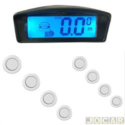 Sensor de estacionamento - Over Vision - display LCD com iluminação ambar e azul - 8 sensores - prata - cada (unidade) - 102508PTA