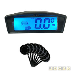 Sensor de estacionamento - Over Vision - display LCD com iluminação ambar e azul - 8 sensores - preto - cada (unidade) - 102508PTO