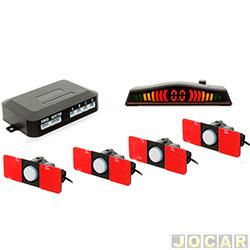 Sensor de estacionamento - H-Tech - display em led colorido e alerta sonoro com chave on/off - prata - cada (unidade) - HT-OEM02