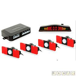Sensor de estacionamento - H-Tech - display em led colorido e alerta sonoro com chave on/off - branco - cada (unidade) - HT-OEM03