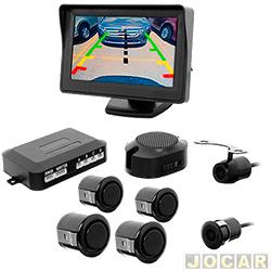 Sensor de estacionamento - H-Tech - tela LCD 4,3, camera r� borboleta e 4 sensores prova d'agua - preto - cada (unidade) - HT-MP01