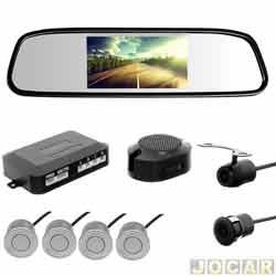 Sensor de estacionamento - H-Tech - retrovisor monitor LED 4.3, campainha -4 sensores de 18,5mm - preto - cada (unidade) - HT-RTC01