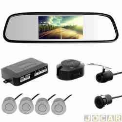 Sensor de estacionamento - H-Tech - retrovisor monitor LED 4.3, campainha -4 sensores de 18,5mm - prata - cada (unidade) - HT-RTC02