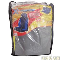 Capa para banco - Bezi - Extreme - cinza e amarela - baixo com 2 apoios de cabeça - jogo - 705946