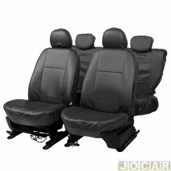 Capa para banco - Car Fashion - em courvin - assentos dianteiro e traseiro - preto - jogo - 0039
