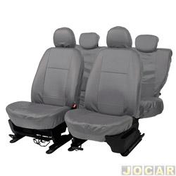 Capa para banco - Car Fashion - em courvin - assentos dianteiro e traseiro - cinza - jogo - 0046