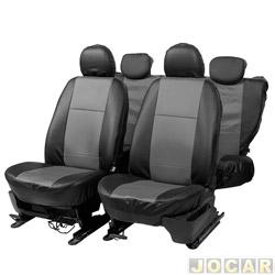 Capa para banco - Car Fashion - em courvin - assentos dianteiro e traseiro - preto - cinza - jogo - 0053