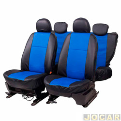 Capa para banco - Car Fashion - em courvin reconstitu�do-assentos dianteiro/traseiro - preto - azul - jogo - 0015