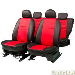 Capa para banco - Car Fashion - em courvin -assentos dianteiro/traseiro - preto - vermelho - jogo - 0022