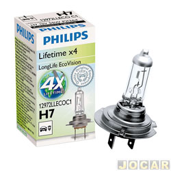 Lâmpada do farol - Philips - LongLife 4x mais tempo de vida útil - H7 - 12V 55W - cada (unidade) - 12972LLECOC1