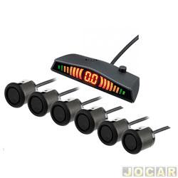 Sensor de estacionamento - Over Vision - display slim com led - meia lua - 6 sensores - preto - cada (unidade) - OV06090004