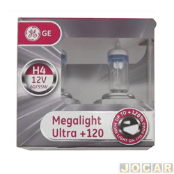 Kit lâmpada do farol - GE (General Electric) - H4 - Megalight Ultra - 120% mais luz - par - 50440SNU