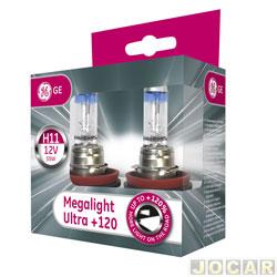 Kit lâmpada do farol - GE (General Electric) - H11 - MegaLight Ultra - 130% mais luz - par - 53110SNU