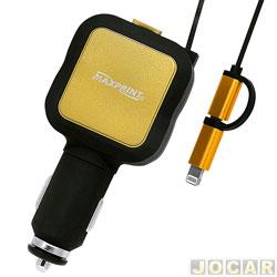 Carregador de bateria - Dazz - para iPhone/iPod - 12v - com 2 entradas USB - cada (unidade) - 52398