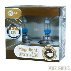 Kit lâmpada do farol - GE (General Electric) - H7 Megalight ultra 12V - 130% mais luz - jogo - 58520 XNU