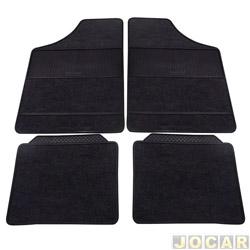 Tapete de carpete+borracha - Eqmax - Serie 3 universal - preto - jogo - 3016003