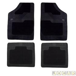 Tapete de carpete+borracha - Borcol - Grupo A (tipo universal - ver detalhes) - Torino 4 peças - preto - jogo - 03718831/03718731
