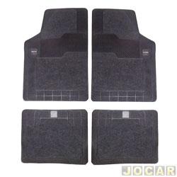 Tapete de carpete+borracha - Borcol - Grupo B (tipo universal - ver detalhes) - Torino 4 pe�as - preto - jogo - 03718841