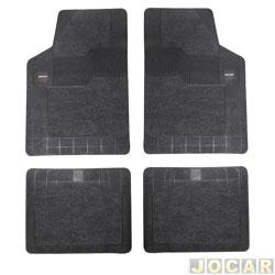 Tapete de carpete+borracha - Borcol - Grupo B (tipo universal - ver detalhes) - Torino  4 pe�as - carpete cinza - grafite - jogo - 03718741.
