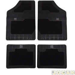 Tapete de carpete+borracha - Borcol - Grupo C (tipo universal - ver detalhes) - Torino 4 pe�as - preto - jogo - 03718851