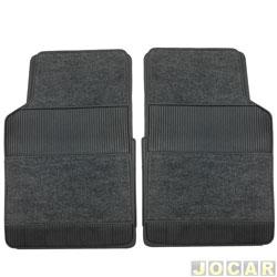 Tapete de carpete+borracha - Car Floor - Modelo 2/B (tipo universal - ver detalhes) - 4 peças - preto - jogo - D123PR