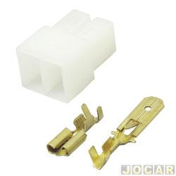 Conector adaptador para rádio - universal - 2 vias macho/femea  - cada (unidade)